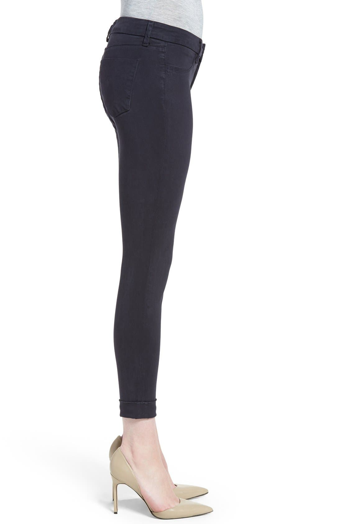 High Waist Ankle Super Skinny Jeans,                             Alternate thumbnail 3, color,                             Dark Navy