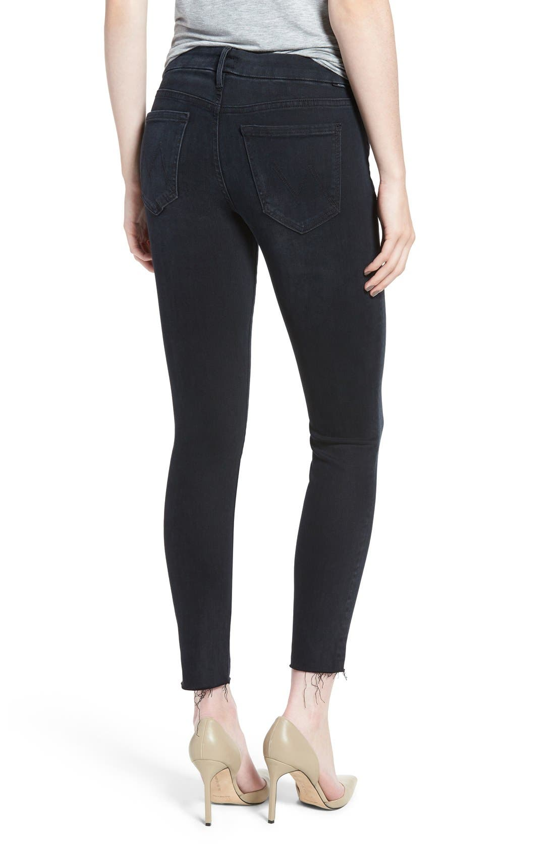 Frayed Ankle Skinny Jeans,                             Alternate thumbnail 2, color,                             Black Bird