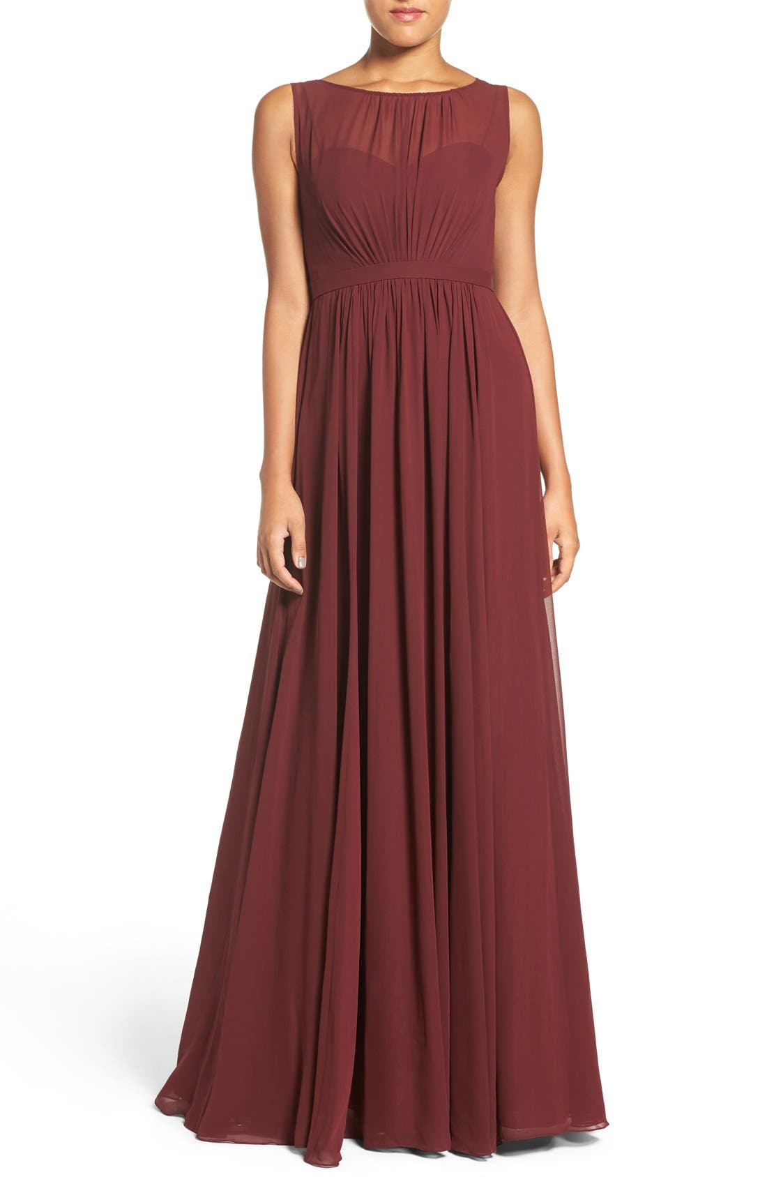 Vivienne Pleated Chiffon Gown,                         Main,                         color, Hibiscus