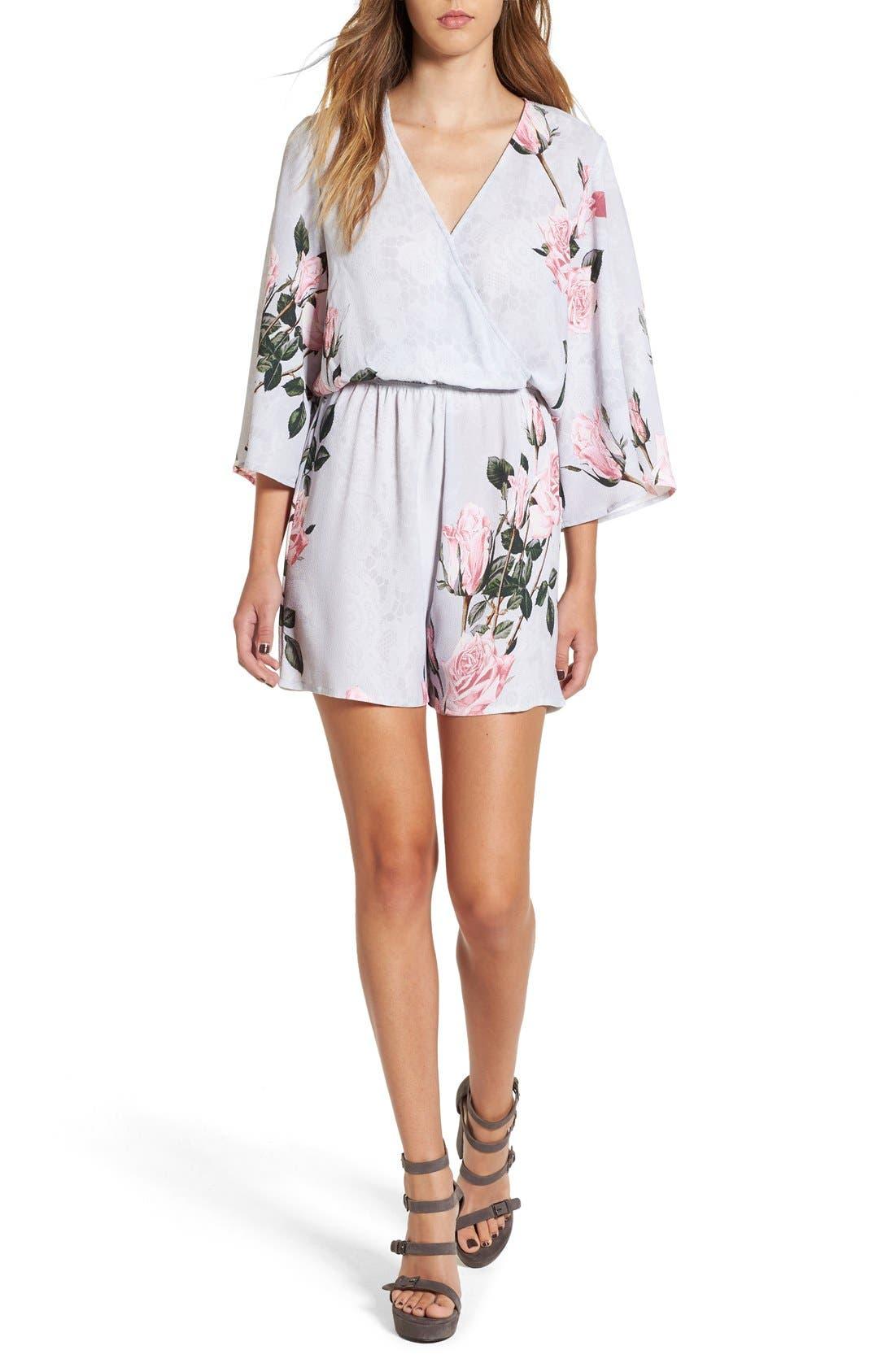 Main Image - Glamorous Floral Print Lace Kimono Romper