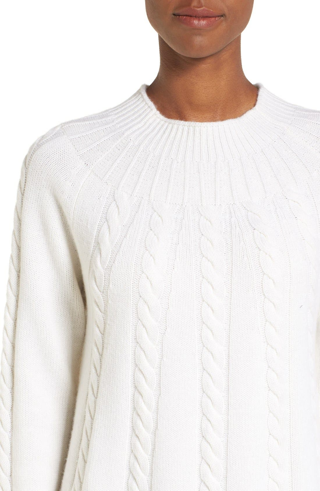 Alternate Image 4  - Nordstrom Collection Cashmere Cable Knit A-Line Pullover