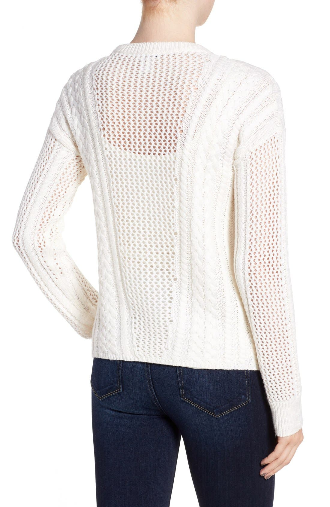 Amory Open Knit Sweater,                             Alternate thumbnail 2, color,                             Ivory