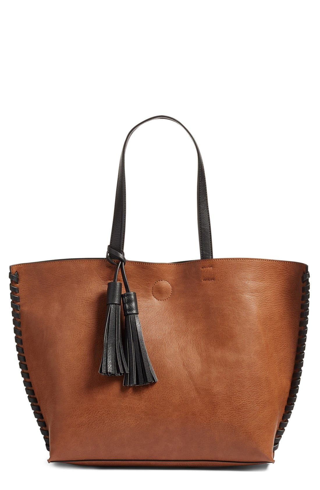 Main Image - Phase 3 Whipstitch Tassel Faux Leather Tote