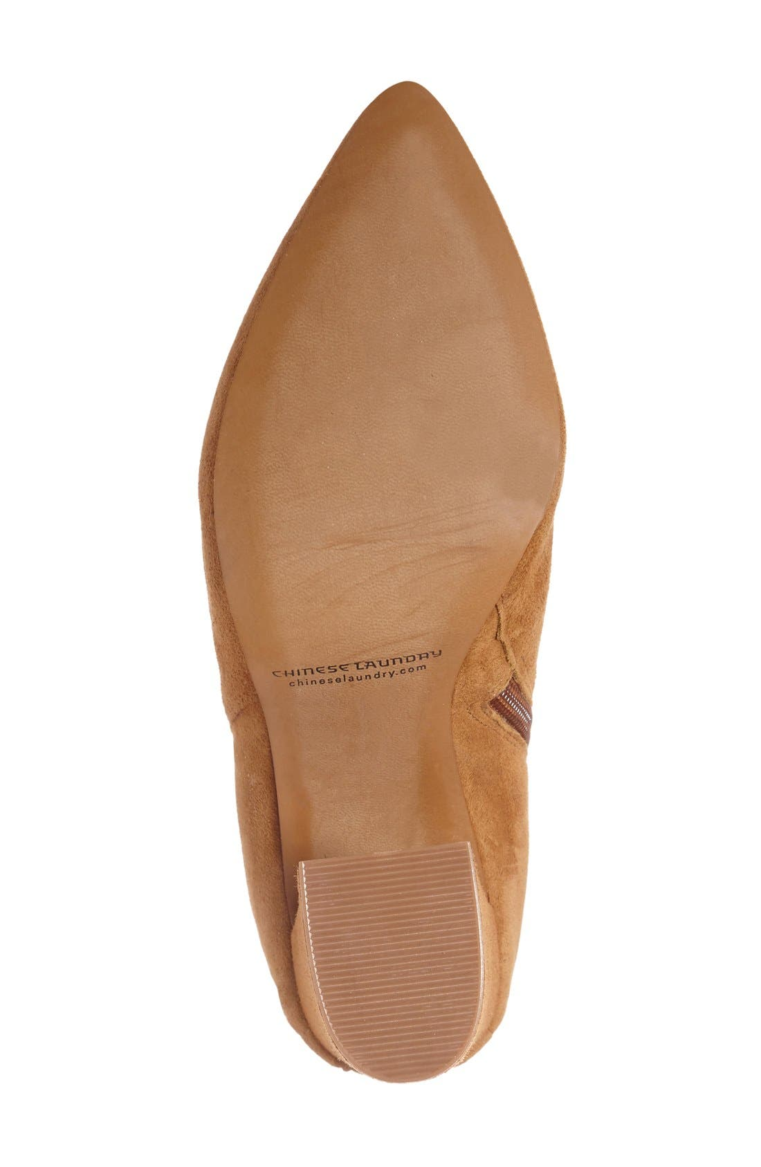 'Siren' Pointy Toe Bootie,                             Alternate thumbnail 4, color,                             Caramel Suede