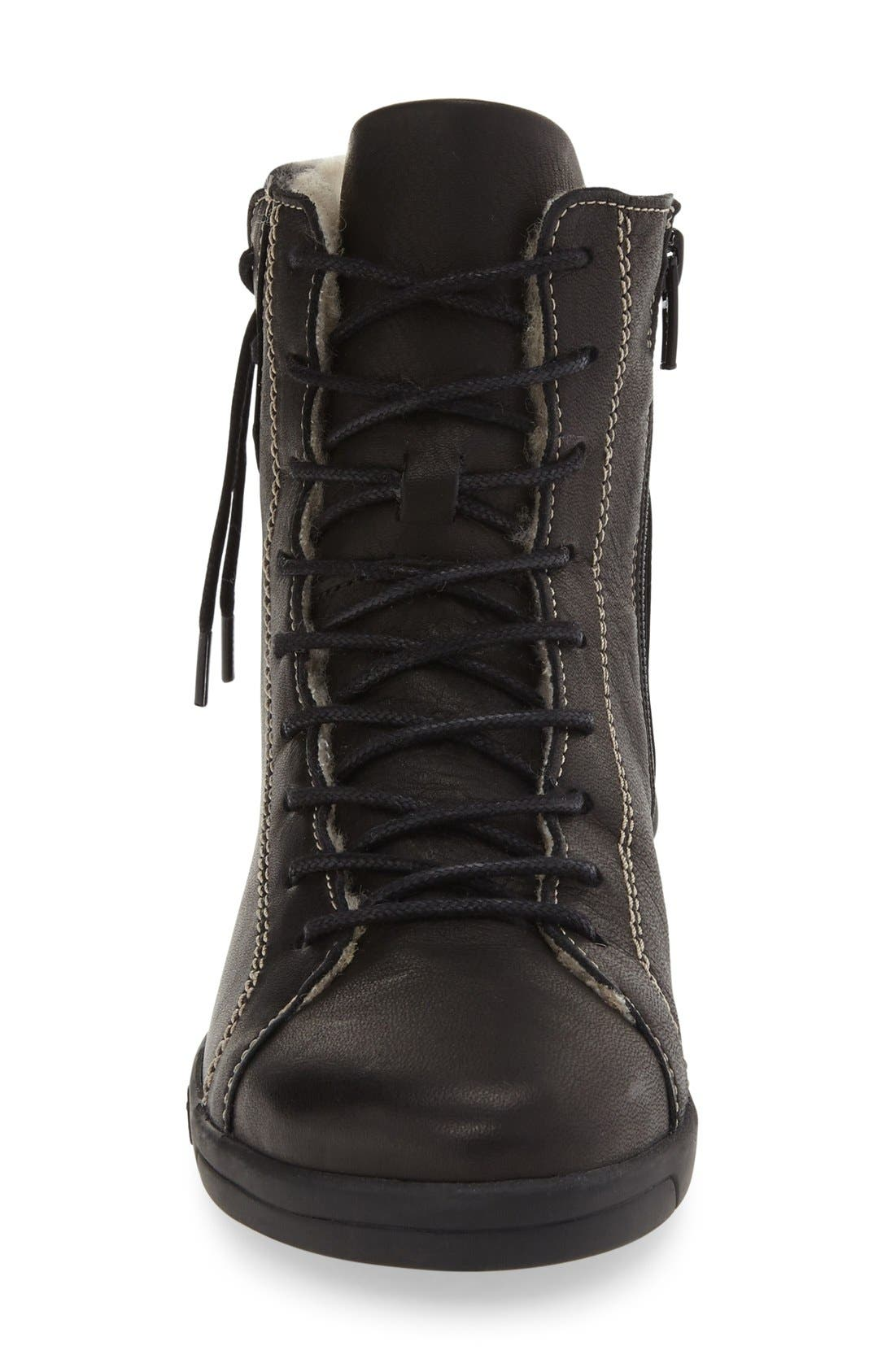 'Astrid' High Top Sneaker,                             Alternate thumbnail 4, color,                             Black Leather