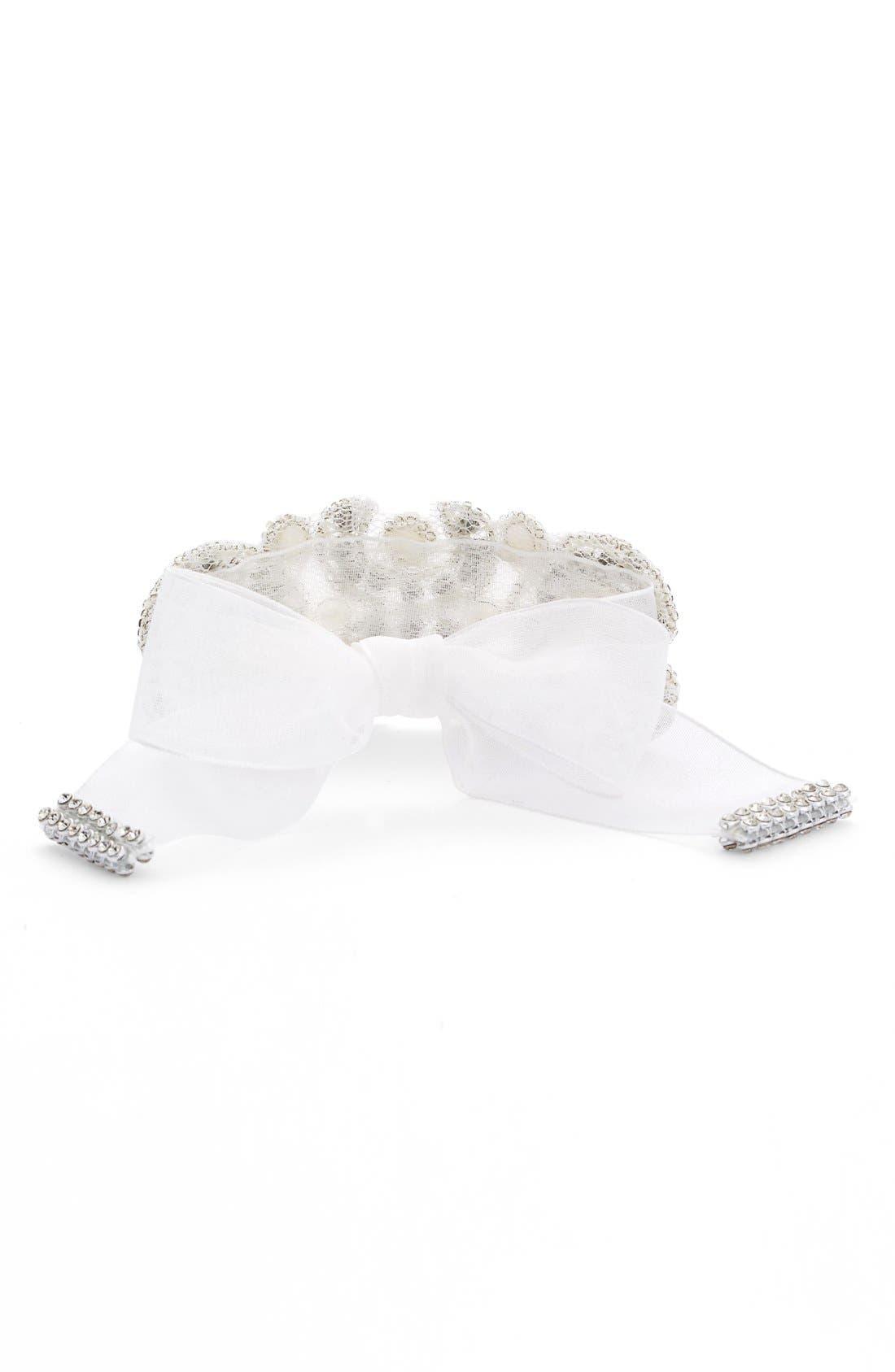 Crystal & Faux Pearl Tie Bracelet,                             Alternate thumbnail 2, color,                             Ivory