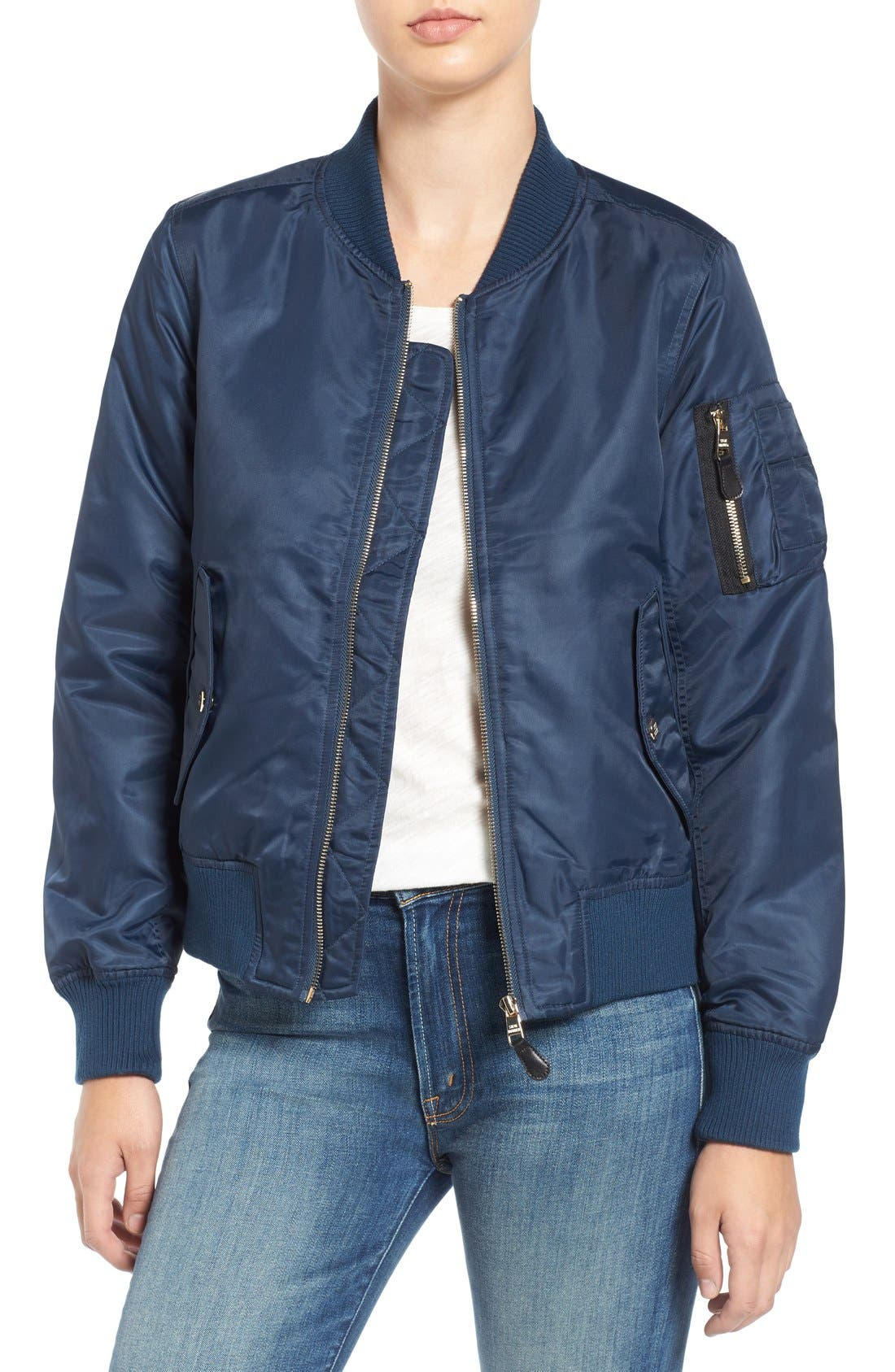 Side Zip Bomber Jacket,                         Main,                         color, Navy