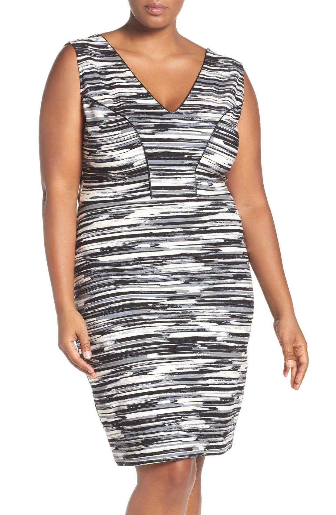 'Viera' Piped Detail V-Neck Sheath Dress,                         Main,                         color, Linear Brush Strokes