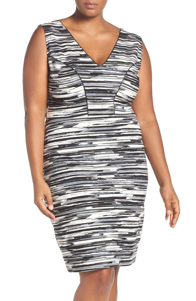 Viera Piped Detail V-Neck Sheath Dress
