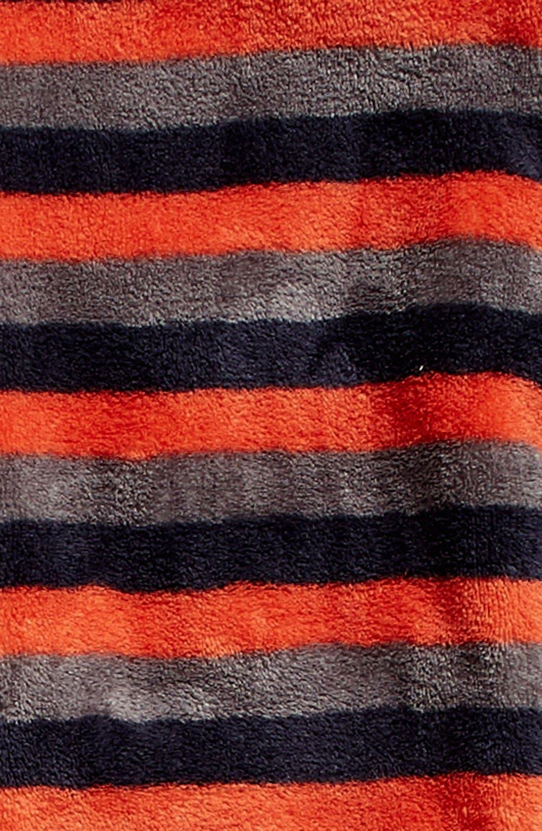 Print Fleece One-Piece Pajamas,                             Alternate thumbnail 2, color,                             Orange Chili- Navy Stripe