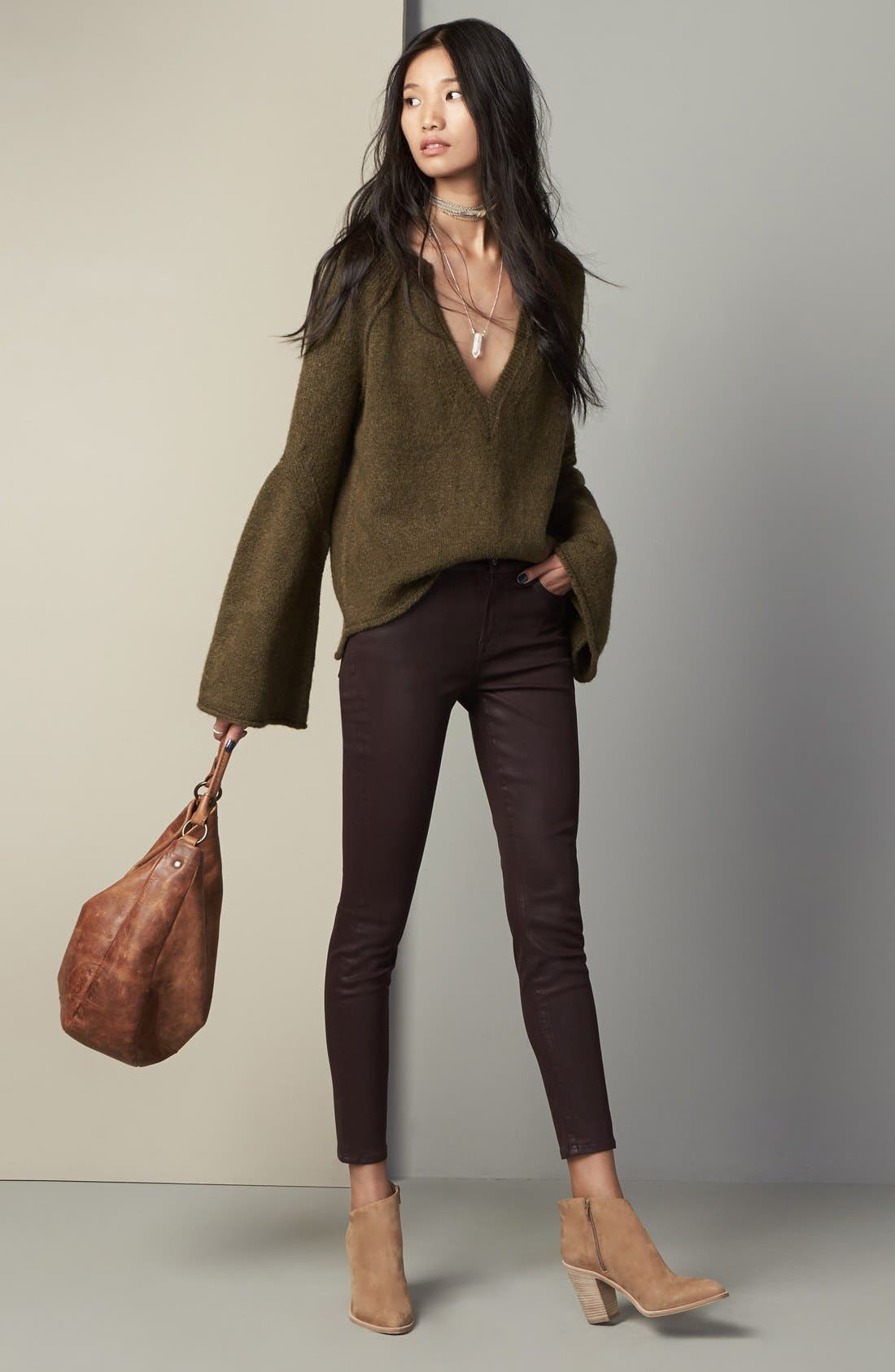 Free People Sweater & 7 For All Mankind® Jeans Outfit with Accessories