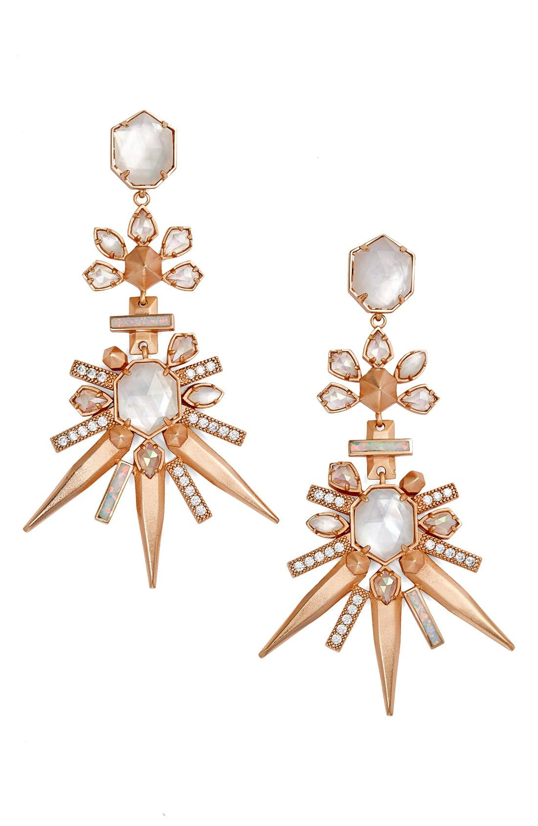 'Isadora' Jewel Drop Earrings,                         Main,                         color, Rose Gold Champagne Mix