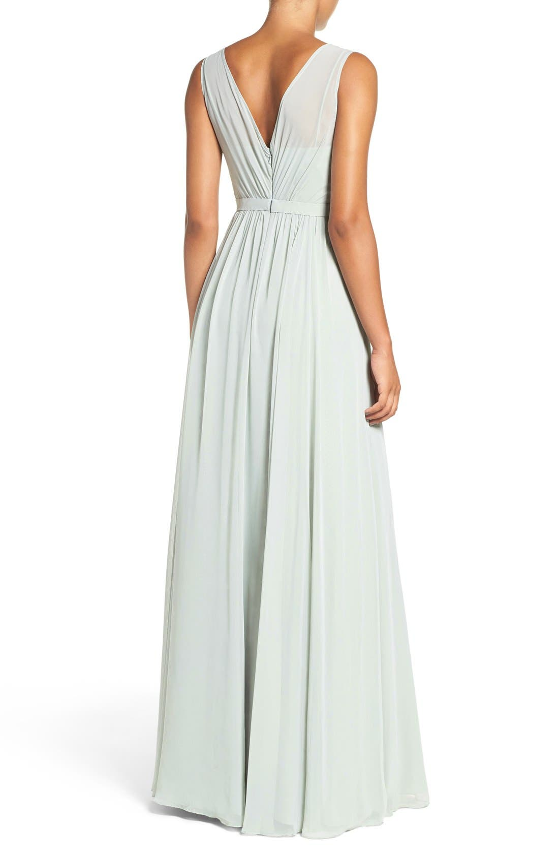 Vivienne Pleated Chiffon Gown,                             Alternate thumbnail 2, color,                             Morning Mist