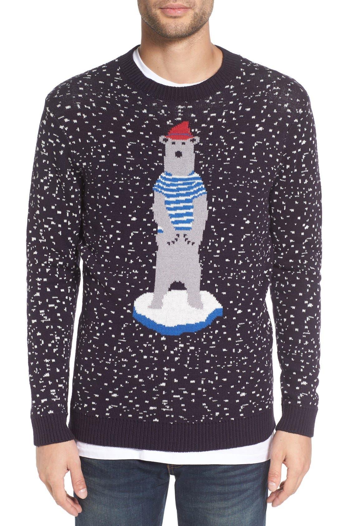 'Polar Ice Caps' Intarsia Crewneck Sweater,                         Main,                         color, Graphite