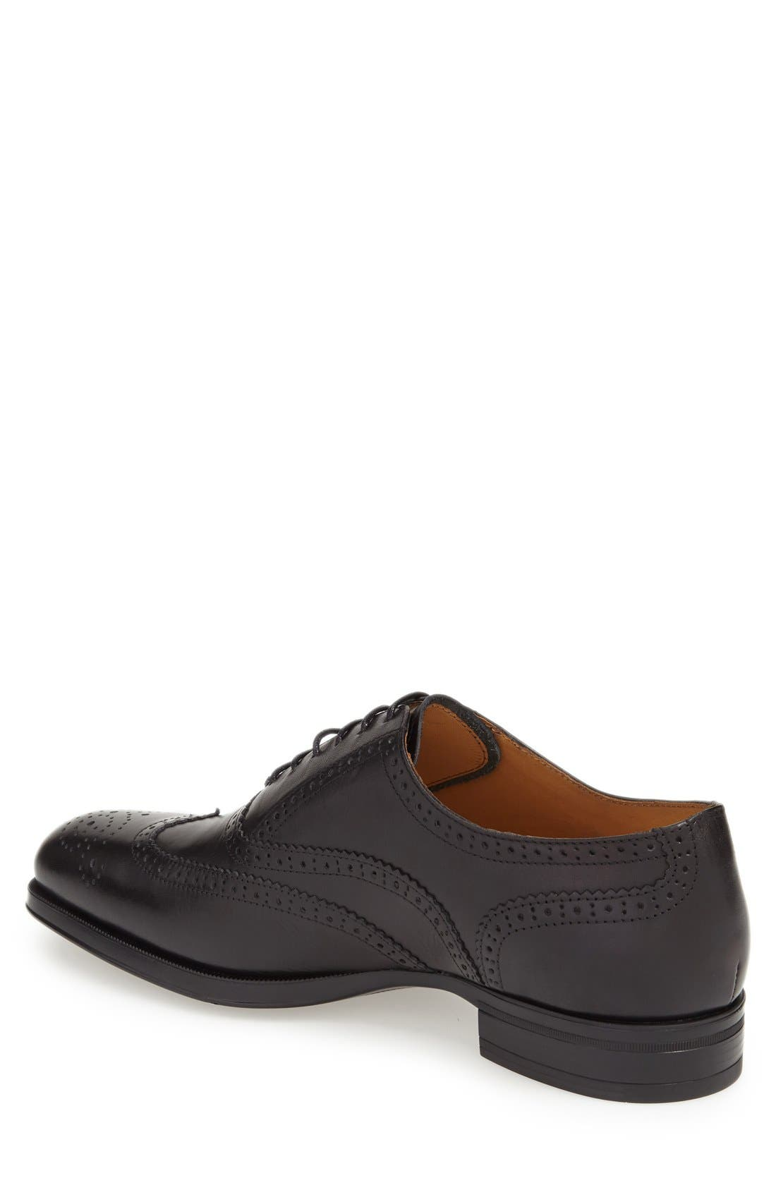 'Tallden' Wingtip,                             Alternate thumbnail 2, color,                             Black Leather