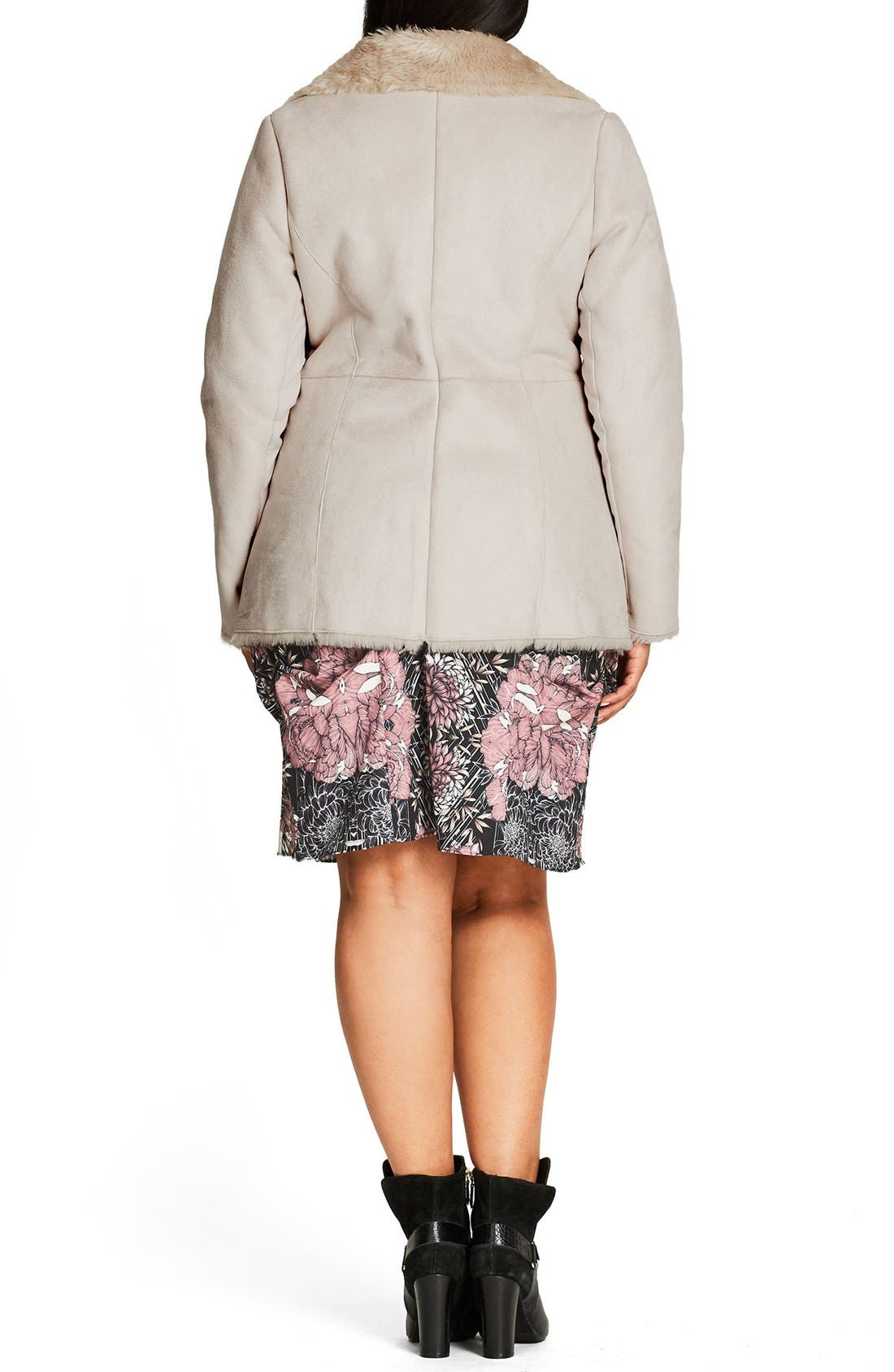 Alternate Image 2  - City Chic Faux Shearling Coat (Plus Size)