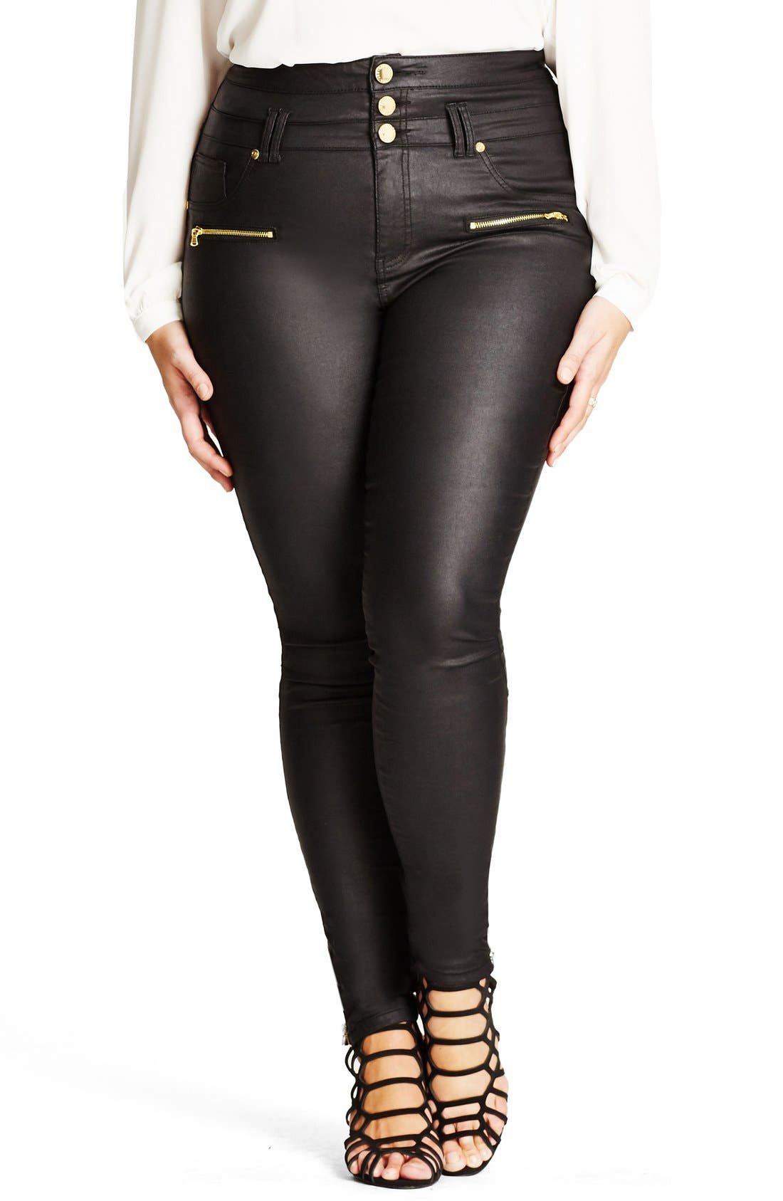 City Chic 'Skylark' Zip Detail Corset Waist Coated Jeans (Plus Size)