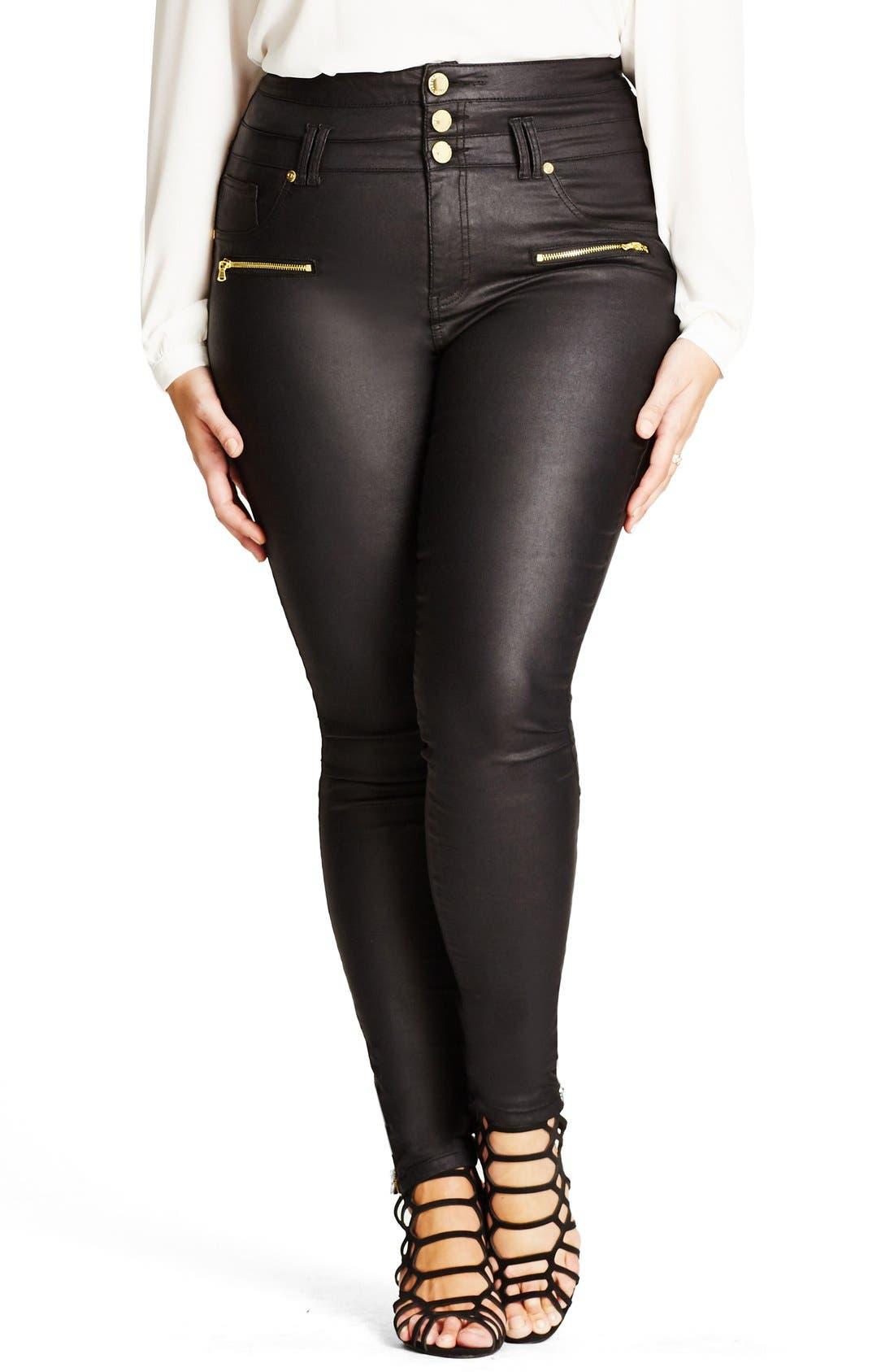 City Chic 'Skylark' Zip Detail Corset Waist Coated Jeans (Plus Size)