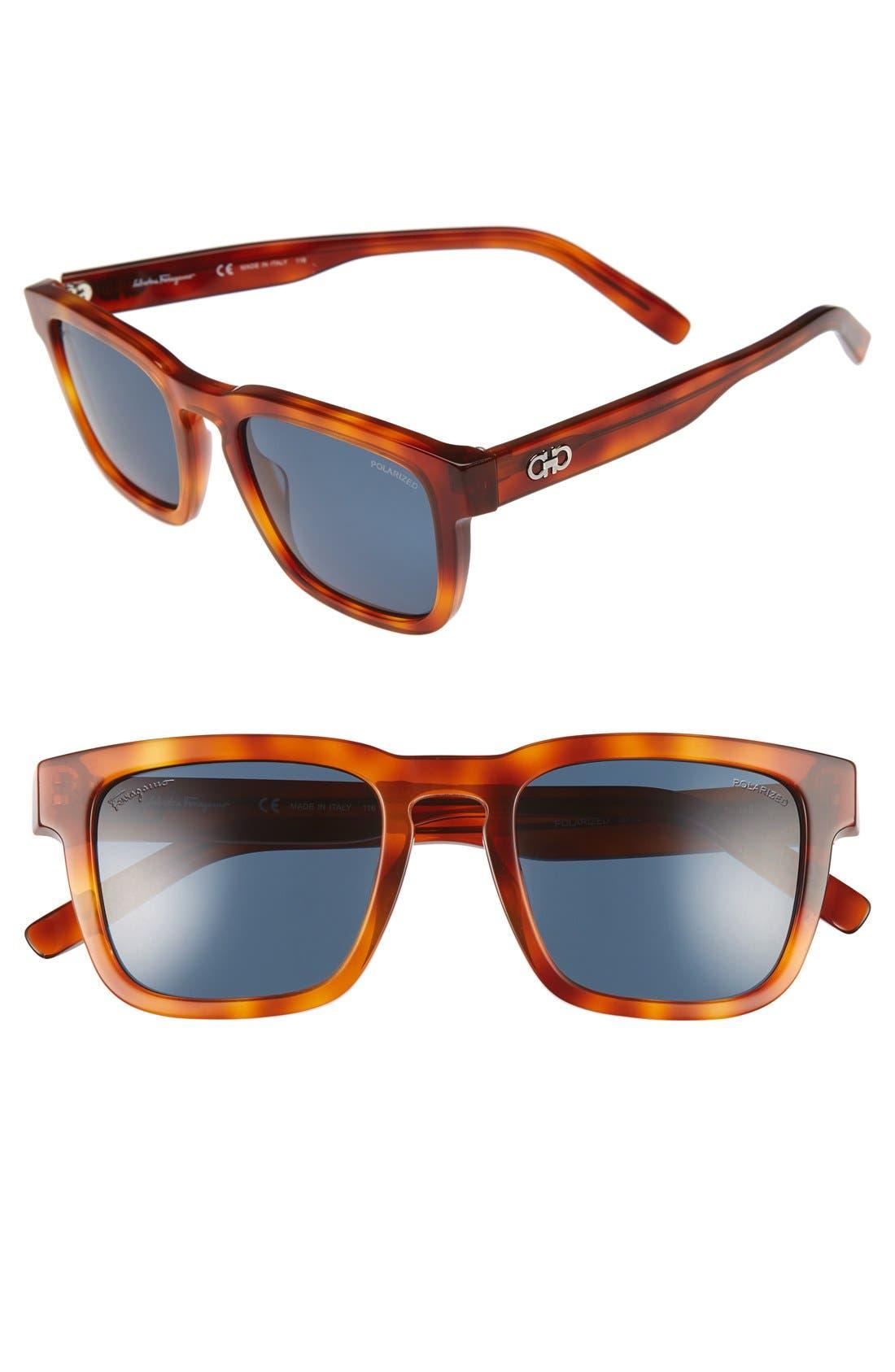 51mm Polarized Sunglasses,                             Main thumbnail 1, color,                             Light Tortoise