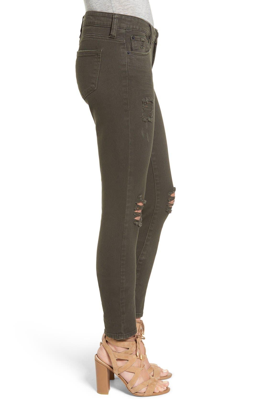 Alternate Image 3  - STS Blue 'Piper' Deconstructed Skinny Jeans (Dark Olive)