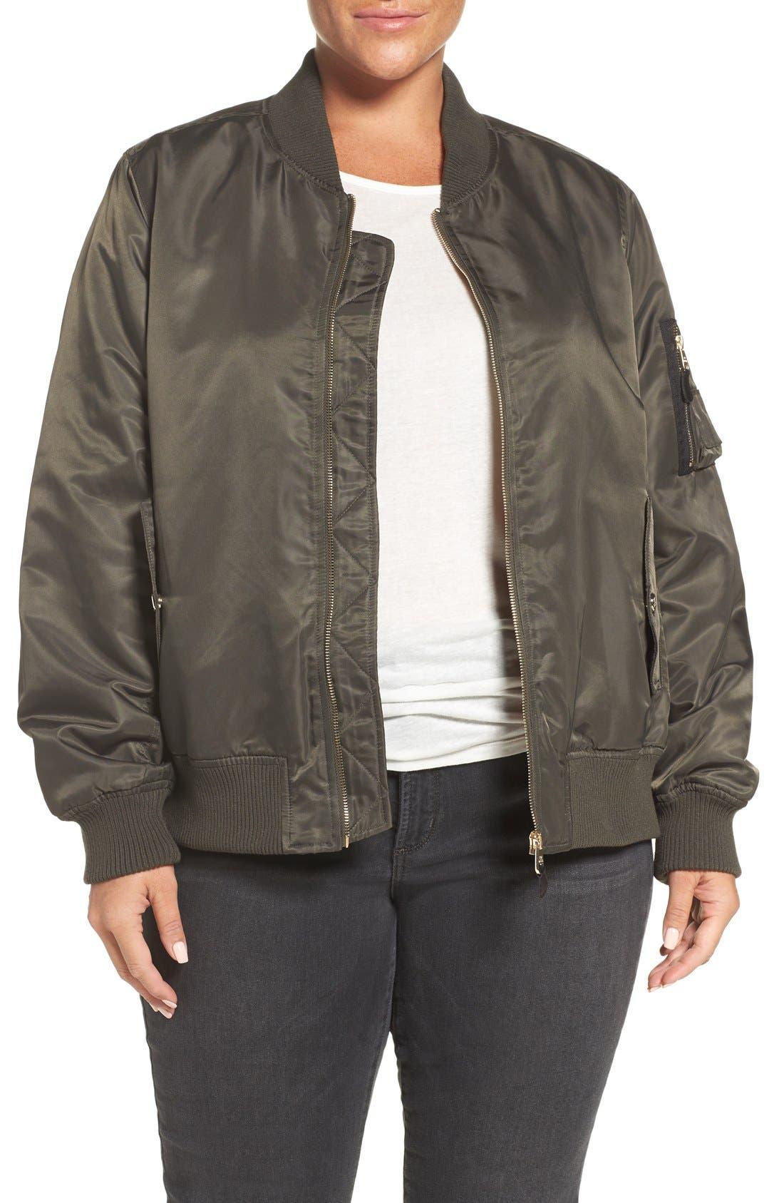 Flight Side Zip Bomber Jacket,                         Main,                         color, Olive