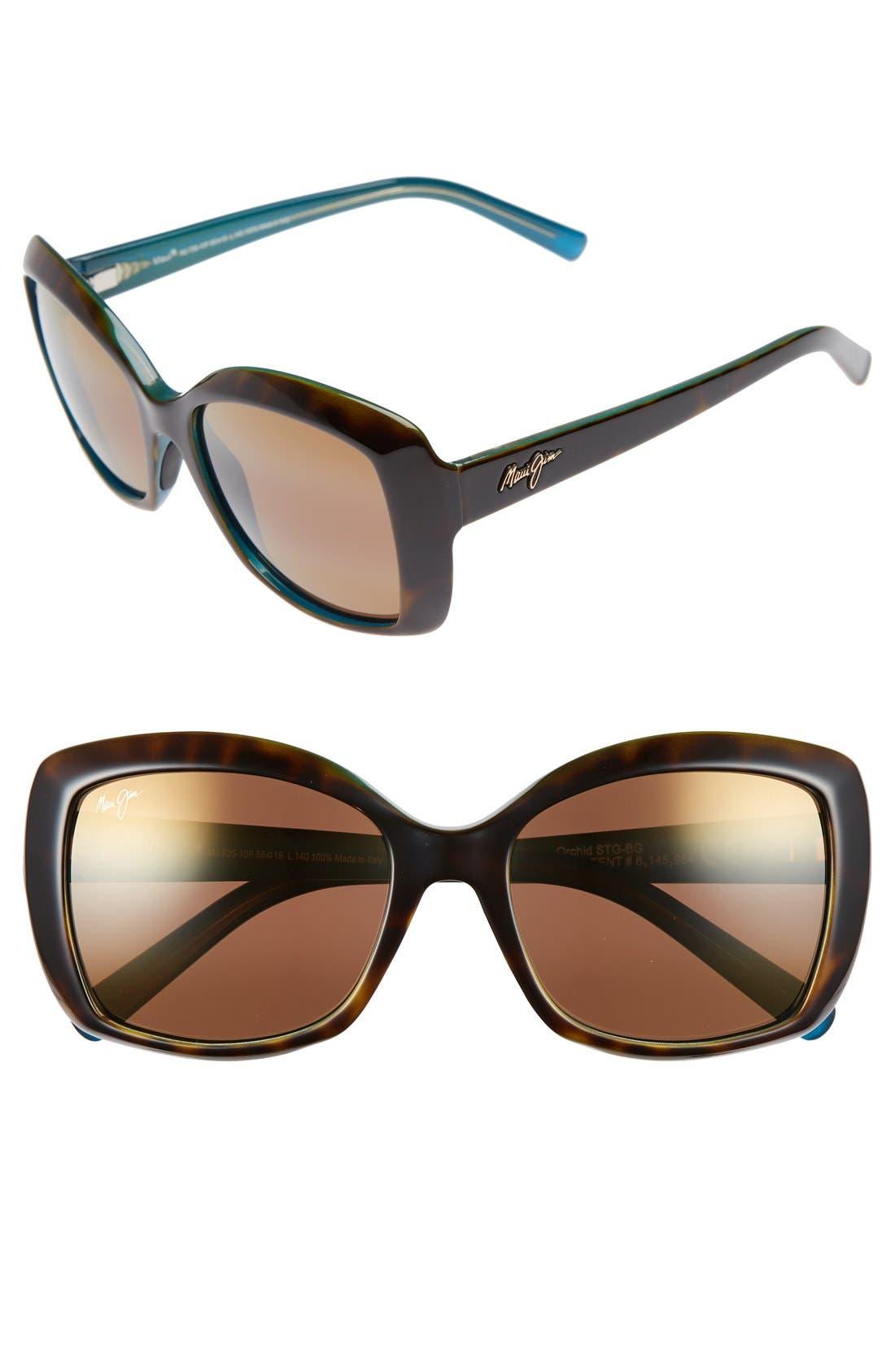 Orchid 56mm PolarizedPlus2<sup>®</sup> Sunglasses,                         Main,                         color, Tortoise Peacock/ Hcl Bronze