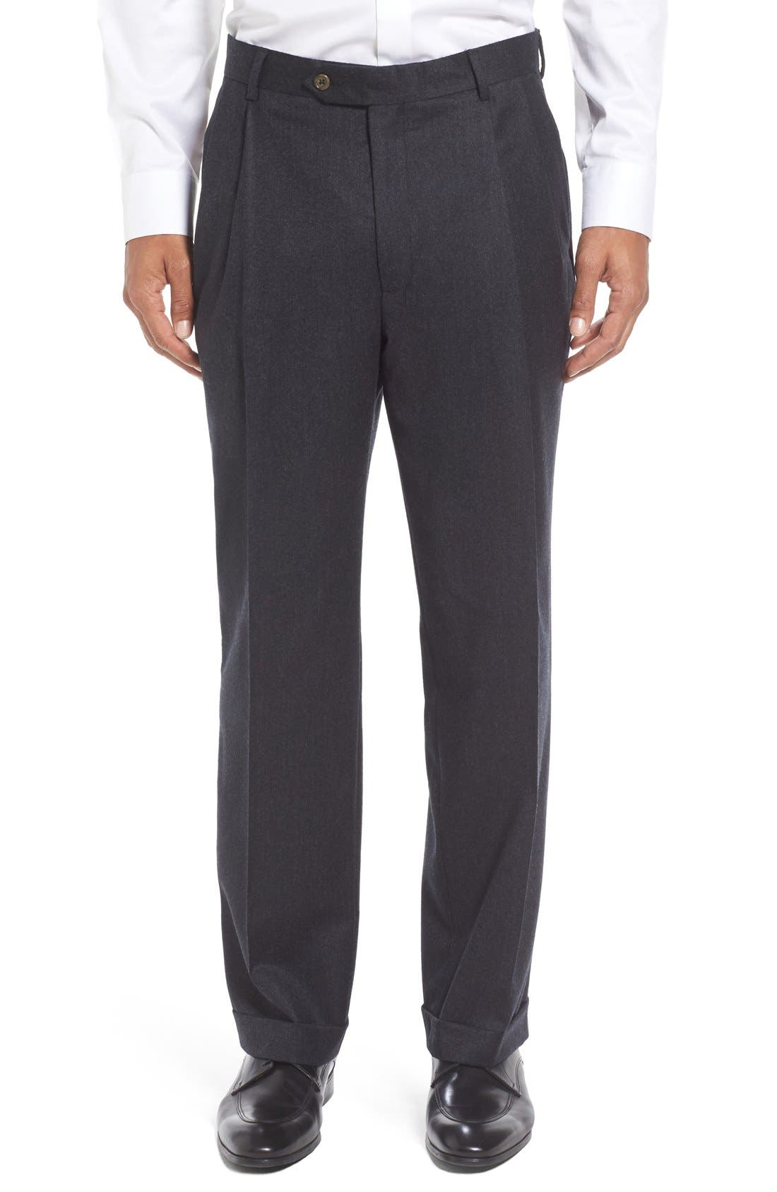 Berle Pleated Solid Wool Trousers