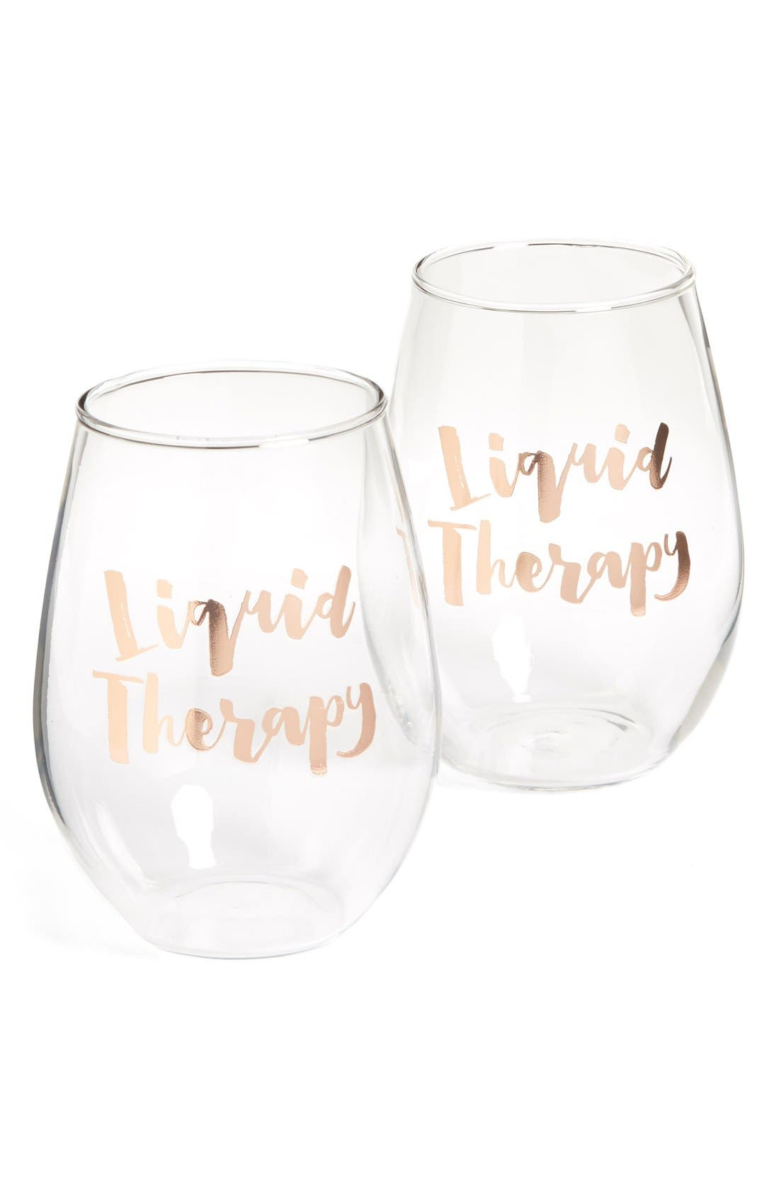 Liquid Therapy Set of 2 Stemless Wine Glasses,                         Main,                         color, White