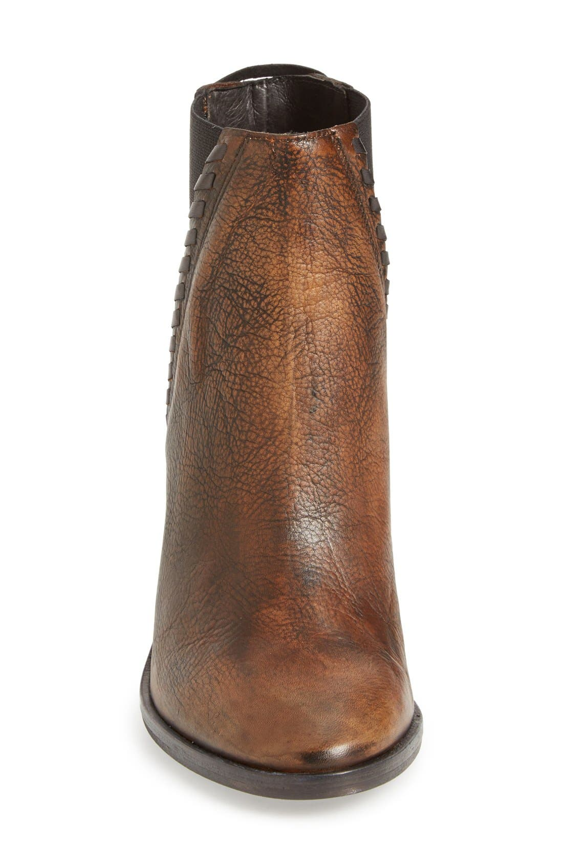 'Stardust' Chelsea Boot,                             Alternate thumbnail 3, color,                             Brown/ Bronze Leather