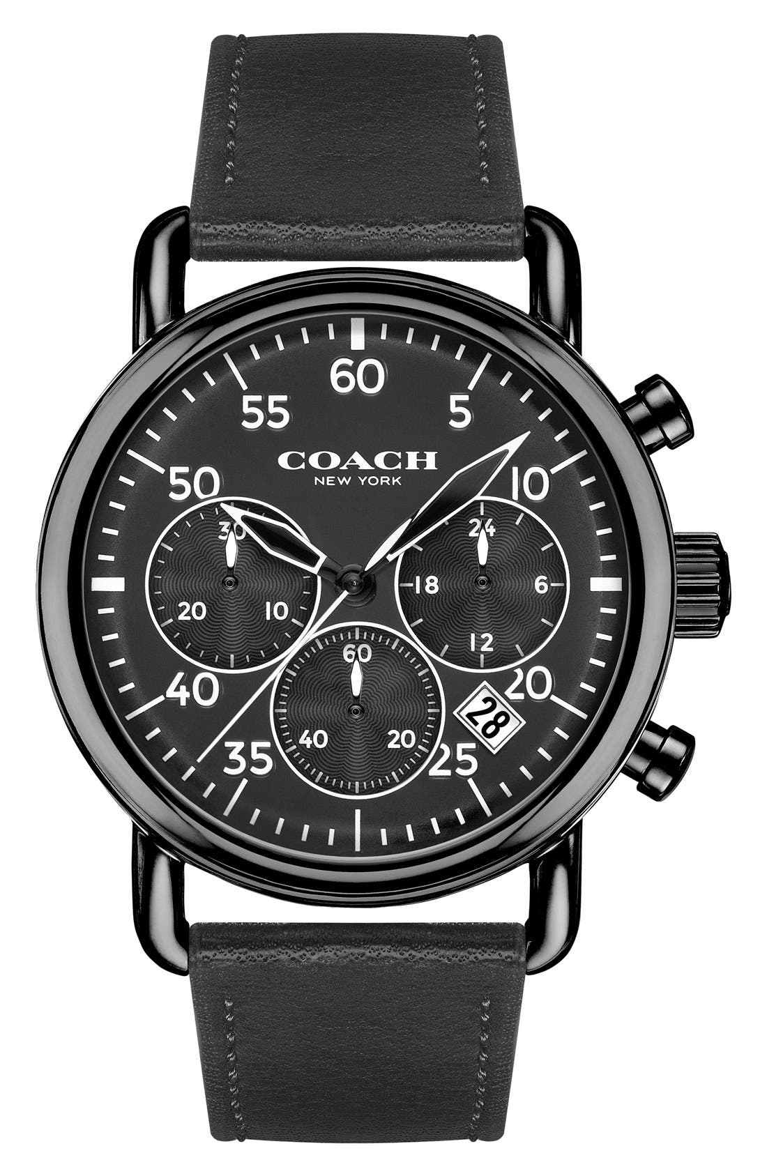 'Delancey' Chronograph Leather Strap Watch, 42mm,                         Main,                         color, Black