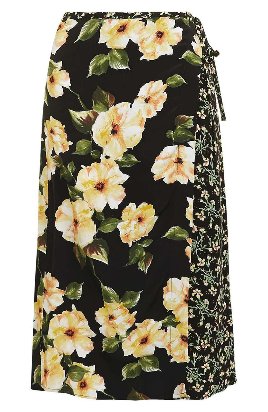 Alternate Image 4  - Topshop 'Busy Garden' Floral Print Wrap Midi Skirt