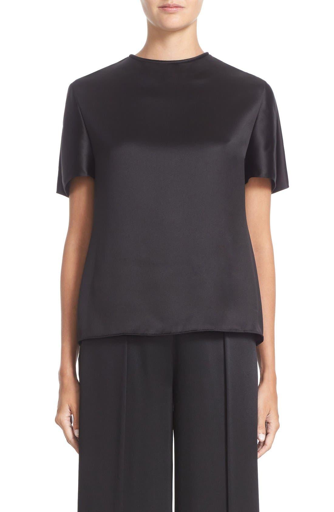 Short Sleeve Crepe Back Top,                         Main,                         color, Black
