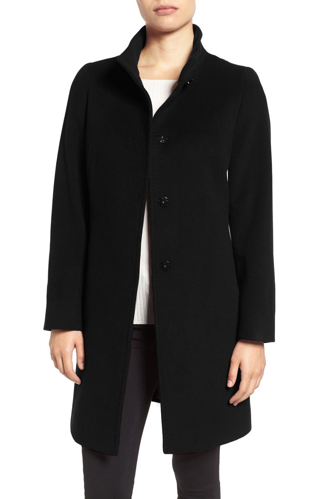 Main Image - Cinzia Rocca Stand Collar Walking Coat (Regular & Petite)
