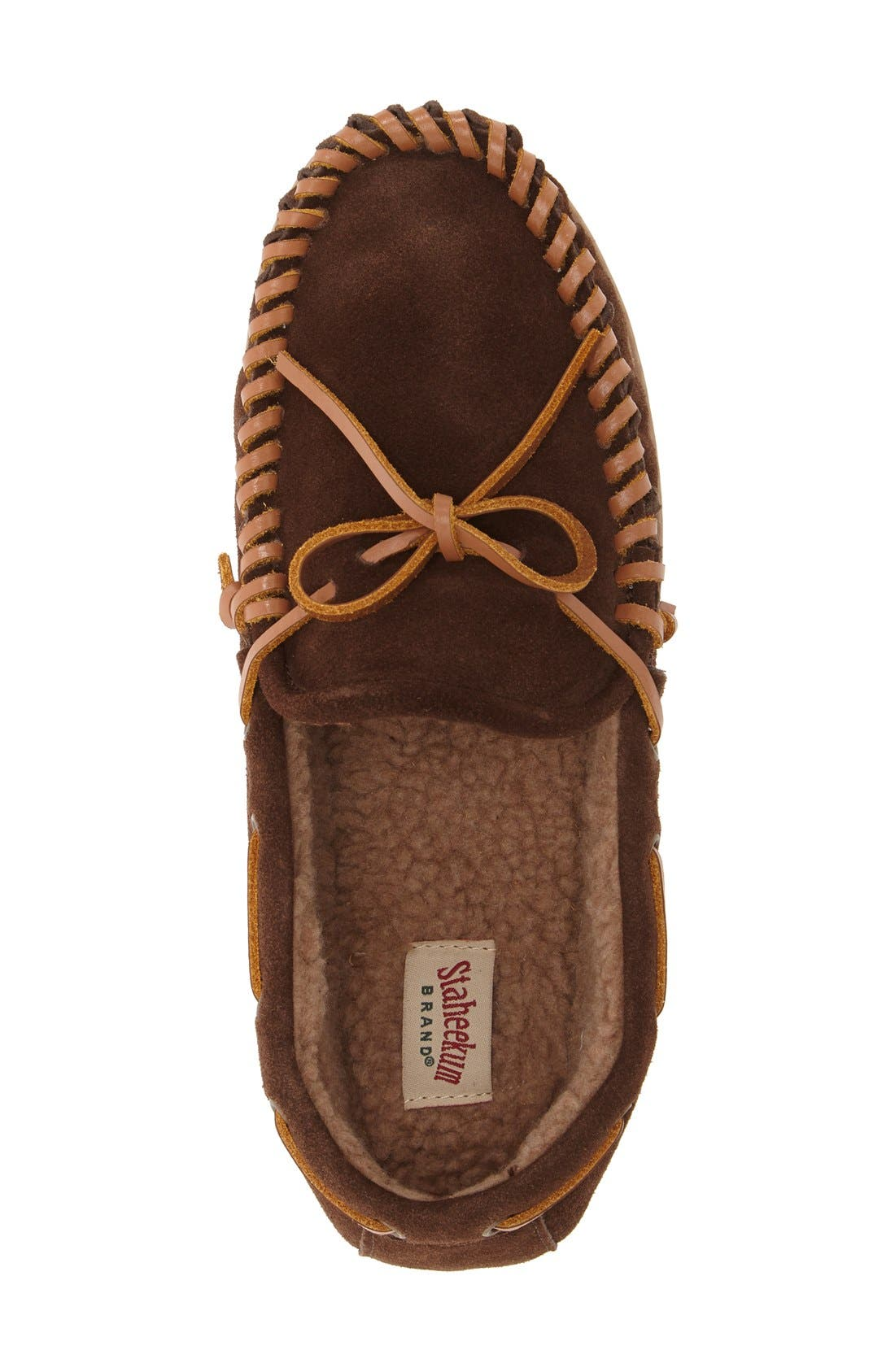 'Courier' Moccasin Slipper,                             Alternate thumbnail 3, color,                             Chocolate Suede