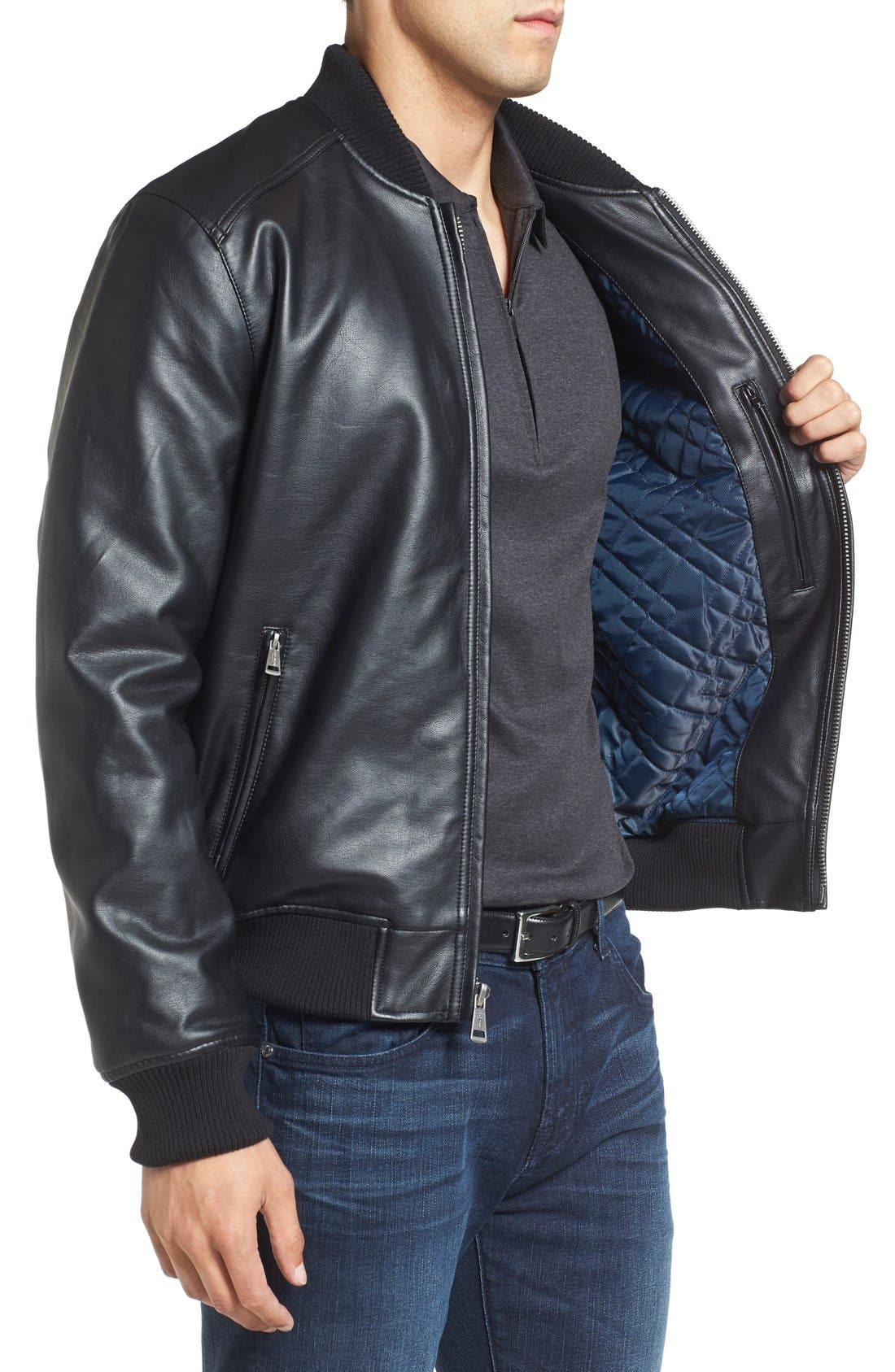 Faux Leather Varsity Jacket,                             Alternate thumbnail 3, color,                             Black