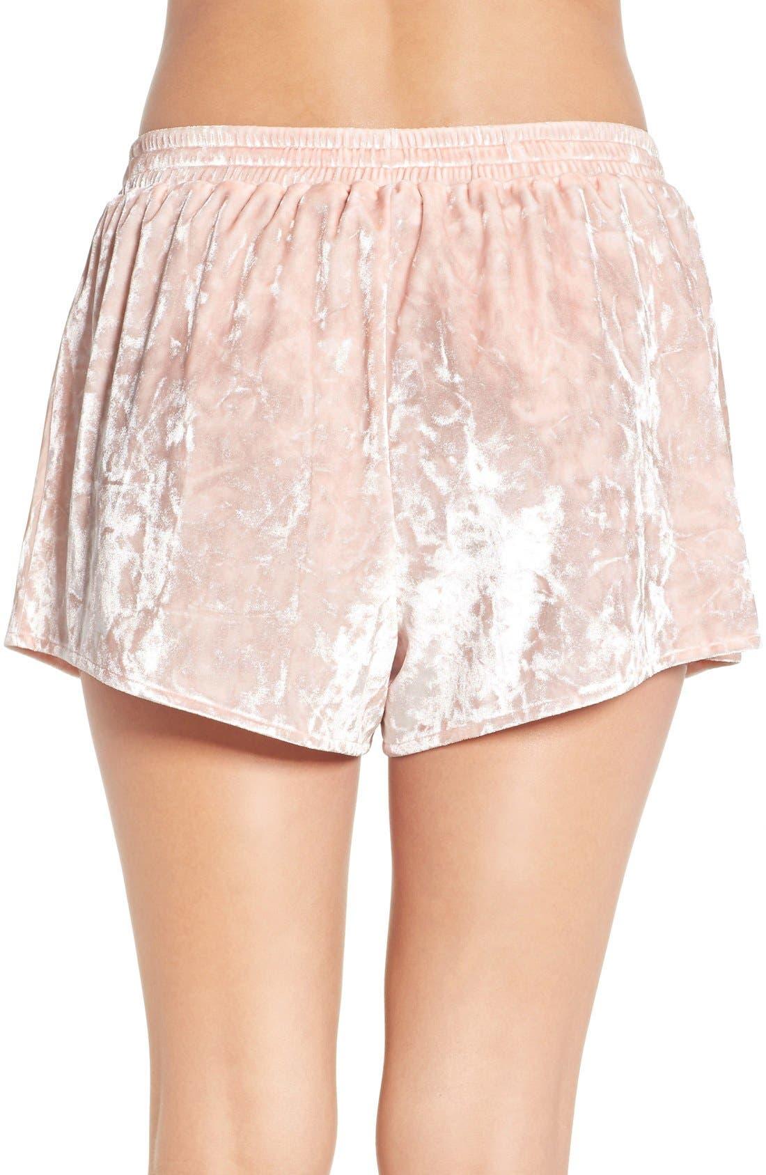 Crushed Velvet Shorts,                             Alternate thumbnail 2, color,                             Pink Wood