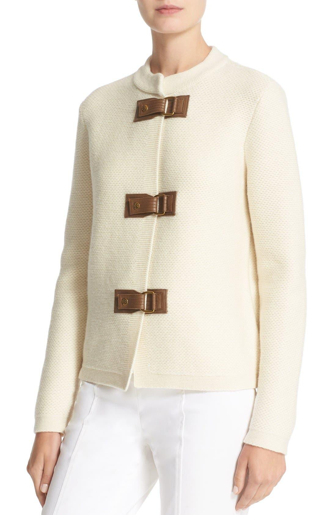Alternate Image 4  - Tory Burch 'Ross' Leather Tab Merino Wool Cardigan