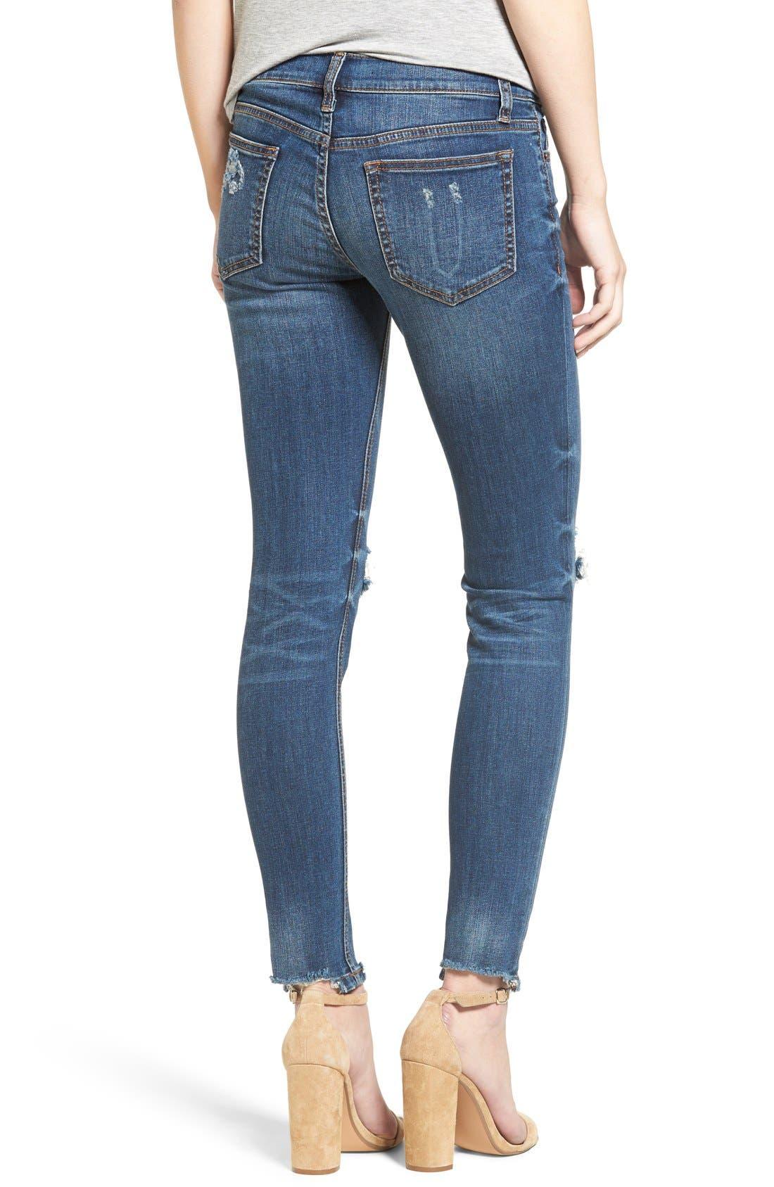 Raw Edge Skinny Jeans,                             Alternate thumbnail 2, color,                             Med Wash
