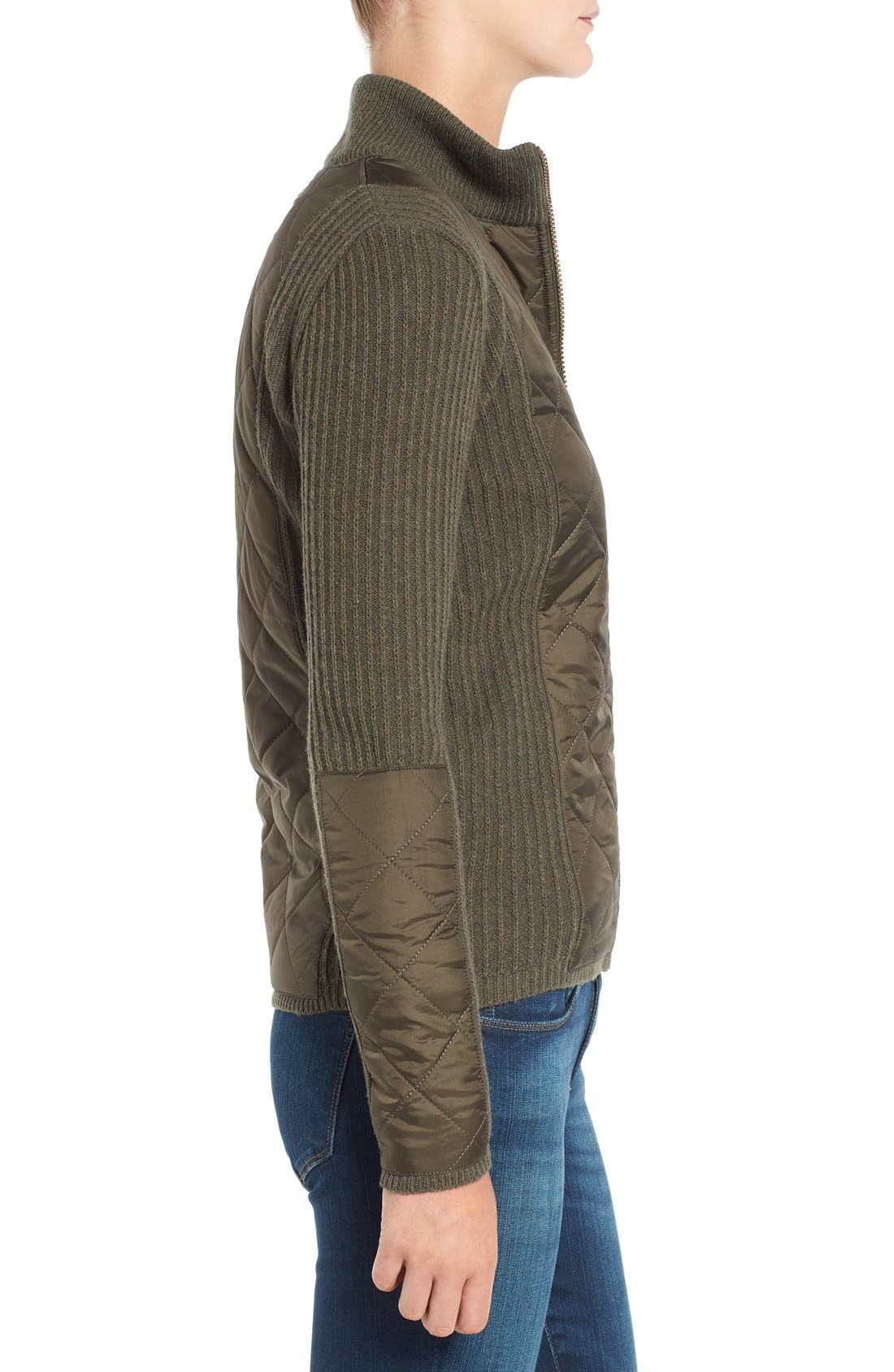 'Sporting' Zip Front Quilted Jacket,                             Alternate thumbnail 6, color,                             Olive