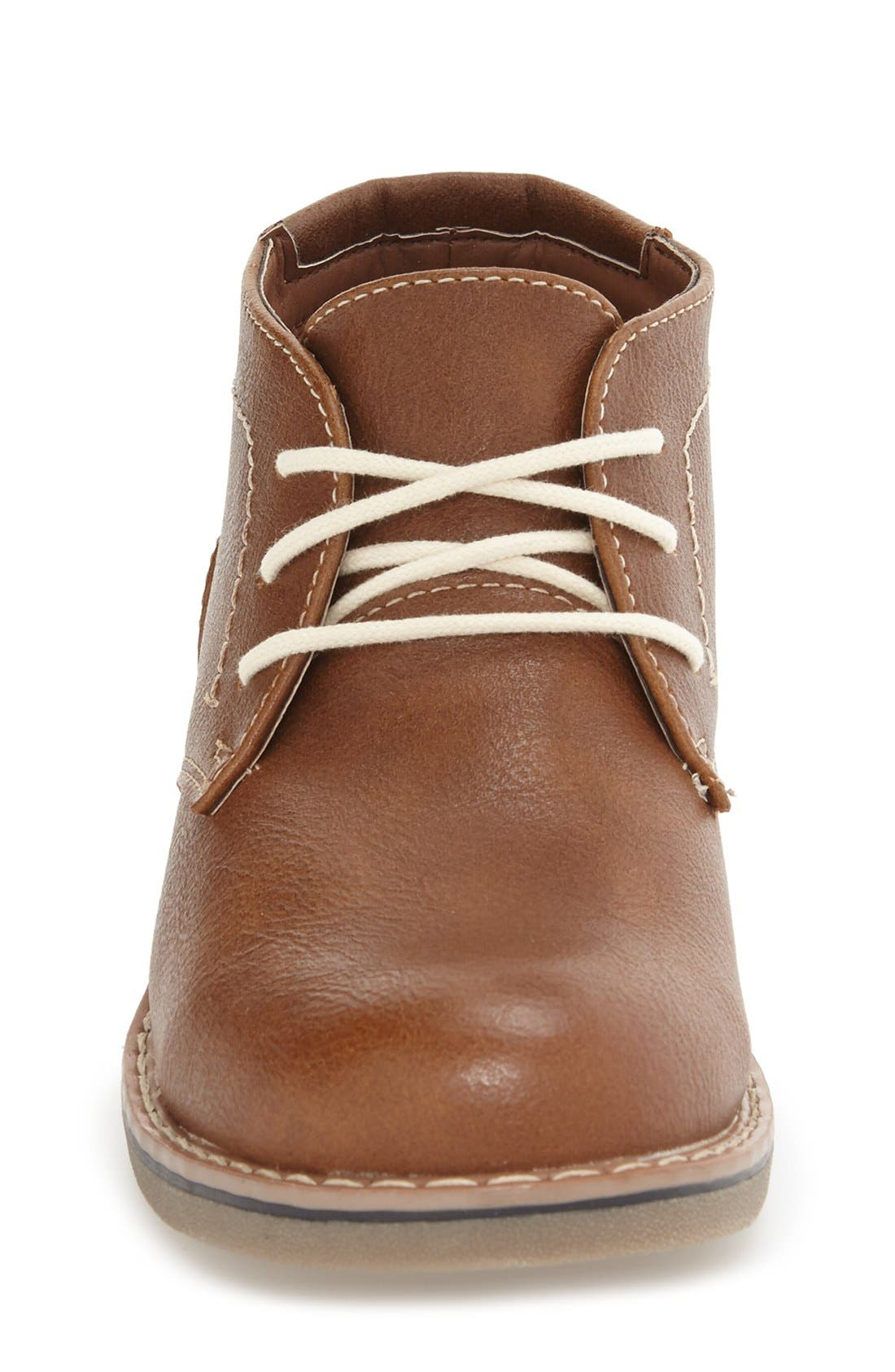 Classic Chukka Boot,                             Alternate thumbnail 3, color,                             Cognac Faux Leather