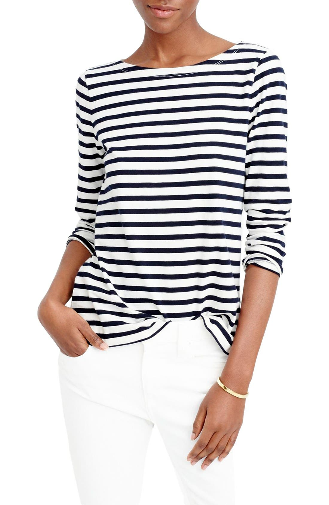 Stripe Boat Neck Tee,                         Main,                         color, Ivory/ Navy