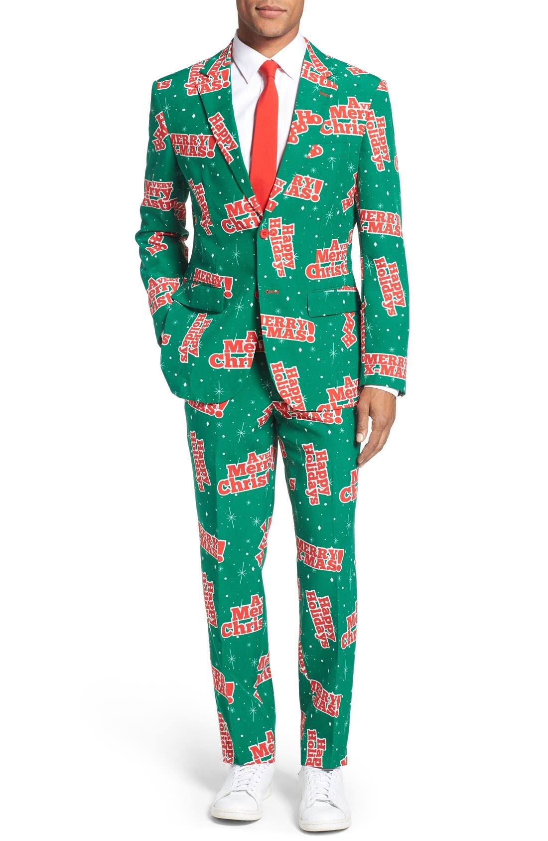 'Happy Holidude' Trim Fit Two-Piece Suit with Tie,                             Main thumbnail 1, color,                             Dark Green