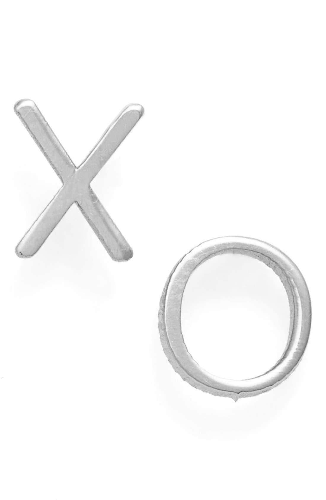 'XO' Stud Earrings,                         Main,                         color, White Gold