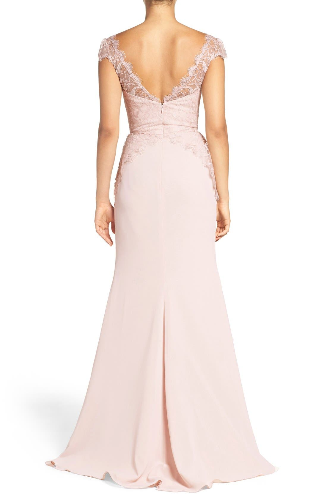 Cap Sleeve Lace & Chiffon Trumpet Gown,                             Alternate thumbnail 6, color,                             Rose/ Blush/ Cashmere