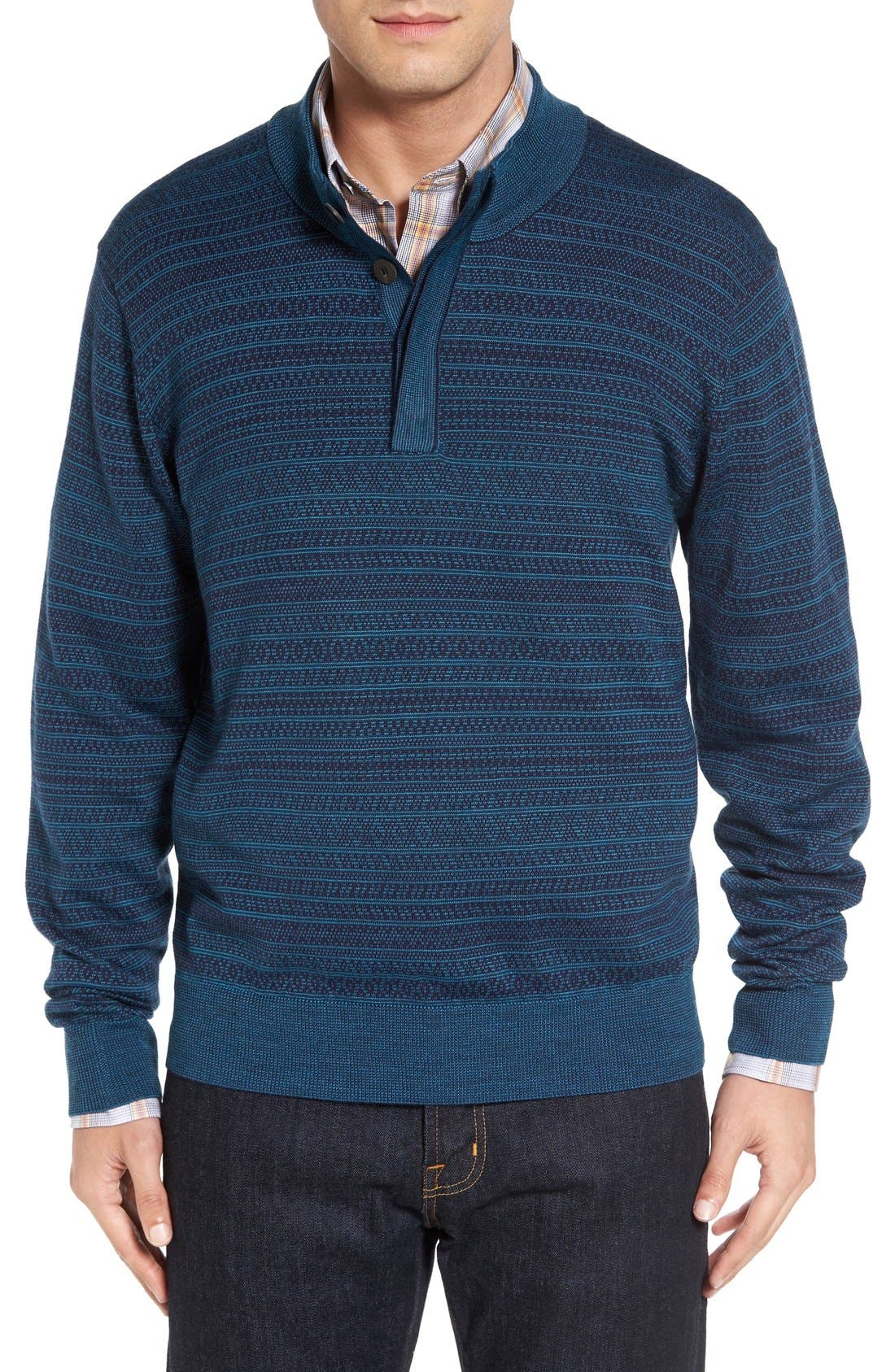 'Douglas Forest' Jacquard Wool Blend Sweater,                         Main,                         color, Liberty Navy