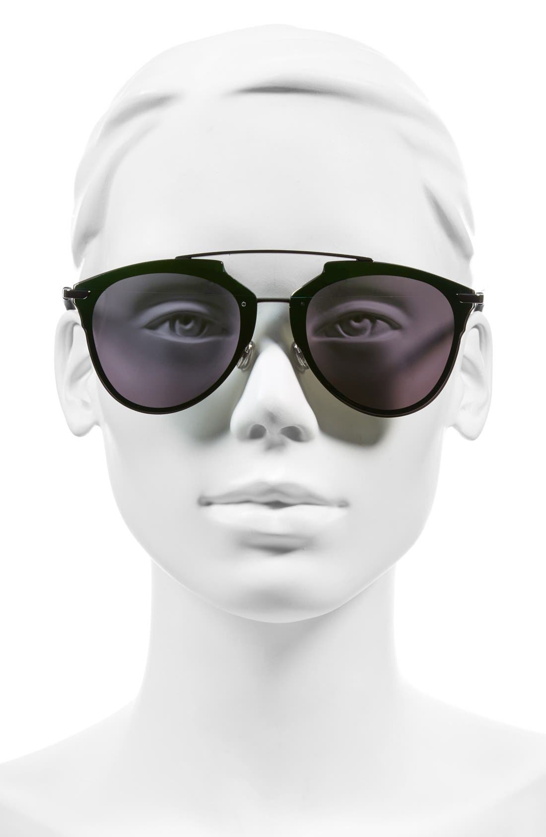 Reflected Prism 63mm Oversize Mirrored Brow Bar Sunglasses,                             Alternate thumbnail 2, color,                             Dark Ruthenium/ Green