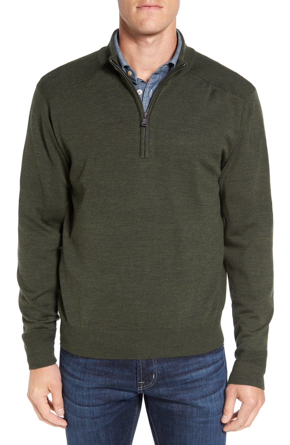 Cutter & Buck Douglas Quarter Zip Wool Blend Sweater