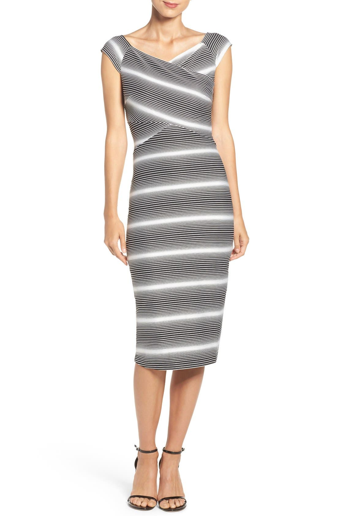 Stripe Jersey Sheath Dress,                             Main thumbnail 1, color,                             Black/ White