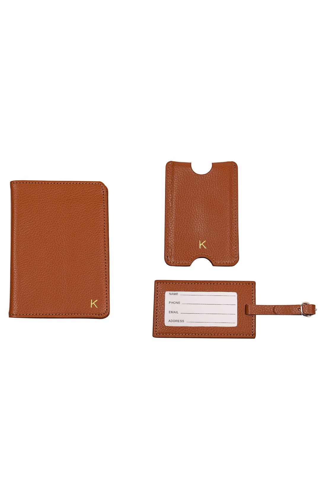 Alternate Image 3  - Cathy's Concepts Monogram Passport Case & Luggage Tag