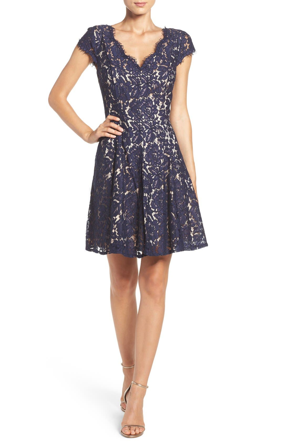 Lace Fit & Flare Dress,                             Alternate thumbnail 4, color,                             Navy